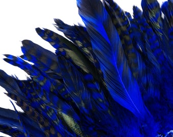 """Blue Chinchilla Rooster Feathers, 8-10"""" Long Barred Rooster Feathers, Dyed Strung Bulk Feathers For Carnival & Costume Design ZUCKER®"""