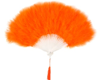 ORANGE Marabou Feather Fans - Photobooth Accessories, Perfect for Great Gatsby, Roaring 20's Theme Costume Parties & Halloween ZUCKER®