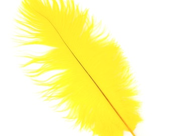 "YELLOW Bulk 13-16"" Ostrich Feathers 1/4LB For Feather Centerpieces,Party Decor,Millinery,Carnival,Fashion,Costume Design ZUCKER®"