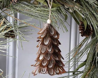 Decorative Mini Feather Tree Ornament - Natural Pheasant - Fall Thanksgiving Decor, Unique Holiday Decorative feather ornament ZUCKER®
