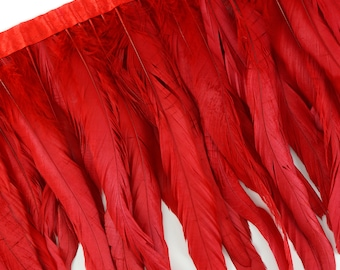 """10-12"""" RED Dyed Coque Feather Fringe 1YD - DIY Art Crafts, Carnival, Cosplay, Costume, Millinery & Fashion Design Feather Fringe ZUCKER™"""