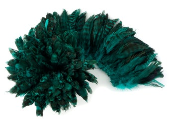 1YD BULK Strung AQUA Chinchilla Coque Tail Feathers 3-6 inches - For Fashion, Costume, Carnival & Cultural Arts Design ZUCKER®