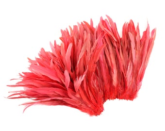 "CORAL 12-14"" Bulk Bleach-Dyed Rooster Coque Tail Feathers Strung by the 1/4lb For Cultural Arts, Carnival & Costume Design ZUCKER®"