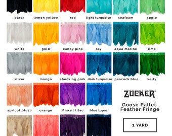 26 COLORS Parried Goose Pallet Feather Fringe 1 Yard Feather Trim For DIY Art Crafts, Carnival Costume, Cosplay, Millinery & Fashion ZUCKER®