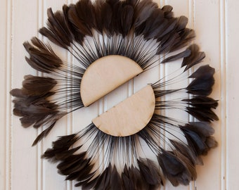 Unique Decorative Feather Wall Art Small Half Moon Set Brown Feather Wall Art and Decor for Home and Office, Feather Wall Art ZUCKER®
