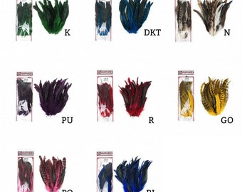 "Packaged Dyed over Natural Rooster Feathers 8-10"" 25pc/pkg For Arts & Crafts projects, DIY, Millinery, Costume Design and more ZUCKER®"