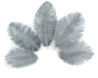 "Ostrich Feathers 4-8"" SILVER, Mini Ostrich Drabs, Floral Bouquets, Boutonnieres, Small Centerpieces, Hat Trims, ZUCKER®"