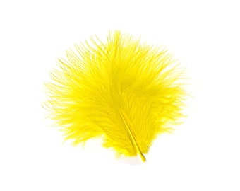 Turkey Feathers, Yellow Loose Turkey Marabou Feathers, Short and Soft Fluffy Down, Craft and Fly Fishing Supply Feathers ZUCKER®