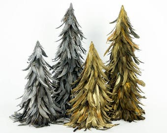 "24"" Gilded Metallic Feather Trees - Fall Decorative Event &  Holiday Christmas Trees ZUCKER™"