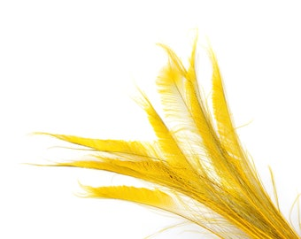 "Bleach Dyed Peacock Sword Feathers 10 to 100 Pieces 15-25"" GOLD- Floral Decor, Millinery, Jewelry Design ZUCKER® Dyed & Sanitized in USA"