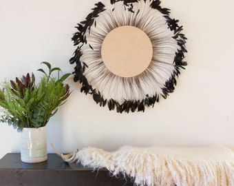 Unique Decorative Feather Wall Art, Feather Art, BRONZE Stripped Rooster Coque Tails Wall Decor for Home & Office, Feather Placemat ZUCKER®