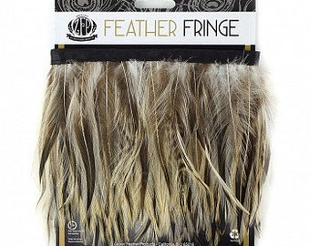 1YD Natural & Dyed Badger Hackle Feather Fringe - DIY Art Crafts, Carnival, Cosplay, Costume, Millinery and Fashion Design ZUCKER®