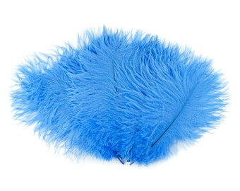 "Ostrich Feathers 9-12"" SKY Blue, Ostrich Drabs, Centerpiece Floral Supplies, Carnival & Costume Feathers ZUCKER®Dyed and Sanitized USA"