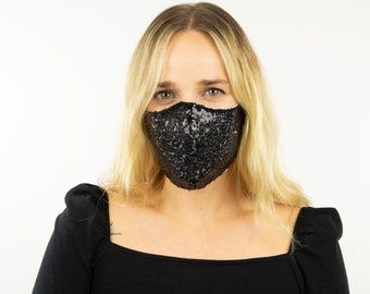 Fitted Face Mask, Black Sequin Reusable Face Mask, Washable, Halloween Sequin Mask, Fashion Face Mask, Face Covering ZUCKER®