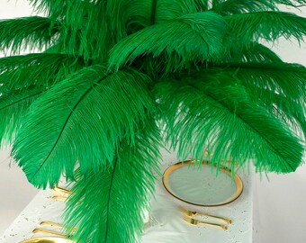 """Large Ostrich Feathers 25 Pieces 17-25"""" Prime Ostrich Femina Wing Plumes KELLY Green, Wedding Centerpiece, Carnival Feathers ZUCKER® USA"""