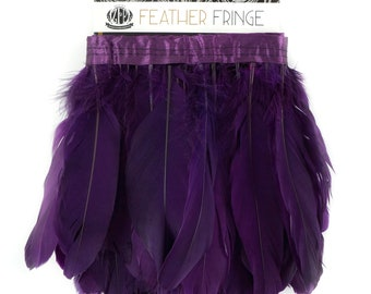 PURPLE 1 Yard Parried Goose Pallet Feather Fringe - For DIY Art Crafts, Carnival Costume, Cosplay, Millinery & Fashion Design ZUCKER®