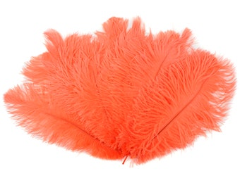 "Ostrich Feathers 9-12"" Hot ORANGE, Ostrich Drabs, Centerpiece Floral Supplies, Carnival & Costume Feathers ZUCKER®Dyed and Sanitized USA"
