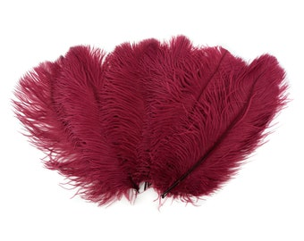 """Ostrich Feathers 13-16"""" BURGUNDY - For Feather Centerpieces, Party Decor, Millinery, Carnival, Fashion & Costume ZUCKER®"""