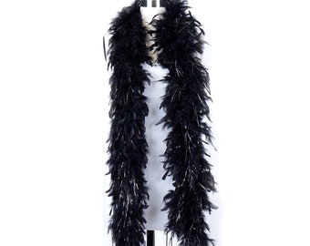 60 Gram Chandelle Feather Boa Black and Silver Lurex 2 Yards For Party Favors, Kids Craft, Dress Up, Dance, Halloween, Costume Zucker®