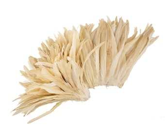 "BEIGE 12-14"" Bulk Bleach-Dyed Rooster Coque Tail Feathers Strung by the 1/4lb For Cultural Arts, Carnival & Costume Design ZUCKER®"