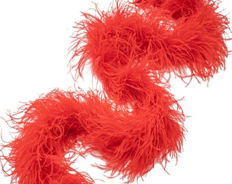 Three-Ply Ostrich Feather Boa - Red
