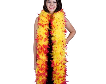 120 Gram Chandelle Feather Boa Tipped Pink & Yellow 2 Yards For Party Favors, Kids Craft, Dress Up, Dancing, Halloween, Costume ZUCKER®