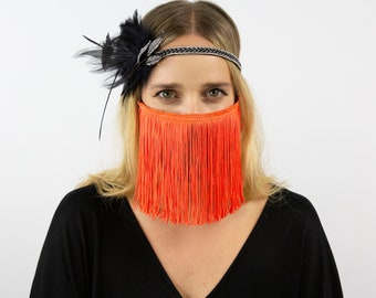 Silver Feather Headband w/Rhinestone Leaf & Hot Orange Fringe Mask for Halloween and Costume Parties ZUCKER®