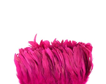"Rooster Tail Feathers, SHOCKING PINK 8-10"" Strung Bleach Dyed Coque Tails, Wholesale Feathers Bulk ZUCKER®"