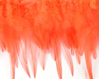 "1 Yard HOT ORANGE Dyed Saddle Feather Fringe approx 5-6"" - Fringe for Costume, Fashion & Millinery Design  ZUCKER®"