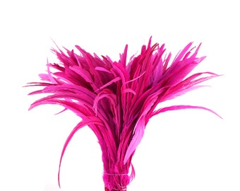 """SHOCKING PINK 16-18"""" Bulk Bleach-Dyed Rooster Coque Tail Feathers Strung by the 1/4lb For Cultural Arts, Carnival & Costume Design ZUCKER®"""