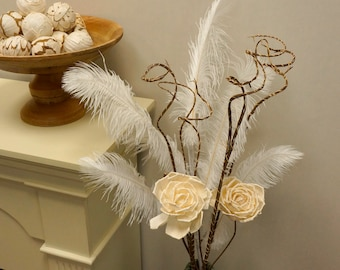 White Ostrich Feather Decorative Stem for Event and Home Decor ZUCKER®