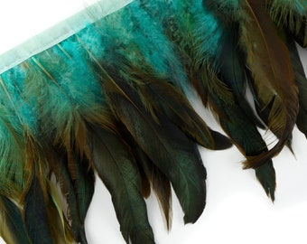 "DK.AQUA 1 Yard Dyed over Half Bronze Iridescent Schlappen Feather Fringe approx 6-8"" - Costume, Fashion & Millinery Design Fringe ZUCKER®"
