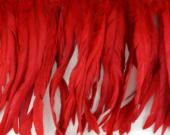 "12-14"" RED Dyed Coque Feather Fringe 1YD - For DIY Art Crafts, Carnival Costume, Cosplay, Millinery & Fashion Design Fringe ZUCKER®"