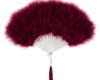 BURGUNDY Marabou Feather Fans - Photobooth Accessories, Perfect for Great Gatsby, Roaring 20's Theme Costume Parties & Halloween  ZUCKER®