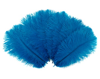 """Ostrich Feathers 9-12"""" Dark TURQUOISE, Ostrich Drabs, Centerpiece Floral Supplies, Carnival & Costume Feathers ZUCKER®Dyed and Sanitized USA"""