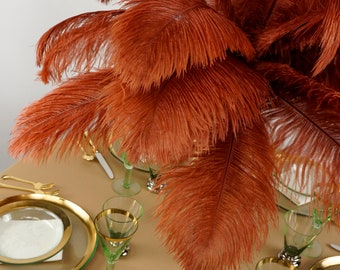 "Ostrich Feathers 17-20"" COPPER, 1 to 25 pcs, Ostrich Plumes, Carnival Samba, Ostrich Drab, Mardi Gras, Centerpieces, Feather Fan ZUCKER® USA"