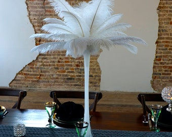 WHITE Ostrich Feather Centerpiece Set with WHITE Eiffel Tower Vase - For Great Gatsby Party, Special Event & Wedding Reception Decor ZUCKER®