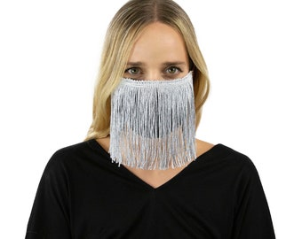 Fitted Fringe Mask, Metallic Silver Reusable Face Mask, Washable, Halloween Fringe Mask, Fashion Face Mask, Face Covering ZUCKER®