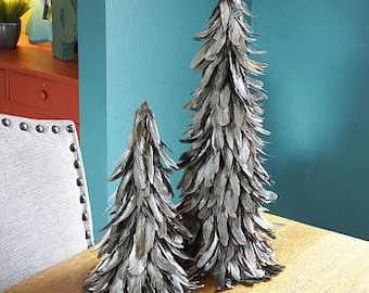 "SILVER 16"" Gilded Metallic Feather Trees - Fall Decorative Event &  Holiday Christmas Trees ZUCKER®"