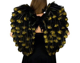 Black with Gold Tipped Feather Costume Angel Wings - ZUCKER®Feather Place Original Designs - Premium Fantasy Feather Costume & Cosplay Wings