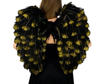 Black with Gold Tipped Feather Costume Angel Wings - ZUCKER™Feather Place Original Designs - Premium Fantasy Feather Costume & Cosplay Wings