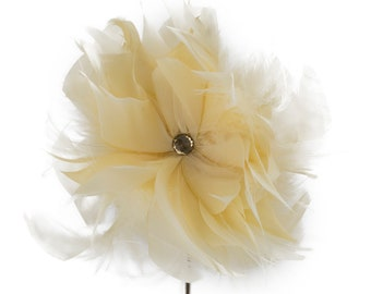 Goose/Turkey/Ostrich Feather Floral Pick w/Rhinestone Lemon Drop