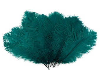 "Ostrich Feathers 13-16"" TEAL 12 PIECES For Feather Centerpieces, Party Decor, Millinery, Carnival, Fashion & Costume ZUCKER®"