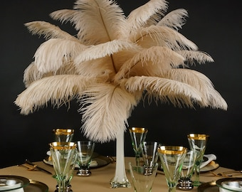 "Ostrich Feathers 13-16"" BEIGE 12 PIECES For Feather Centerpieces, Party Decor, Millinery, Carnival, Fashion & Costume ZUCKER®"
