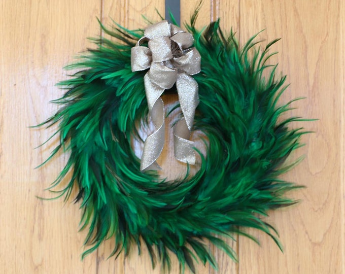 Featured listing image: Festive Decorative Holiday Feather Wreath - Unique Holiday & Christmas Decor -Medium Hackle Feather Wreath Emerald ZUCKER™