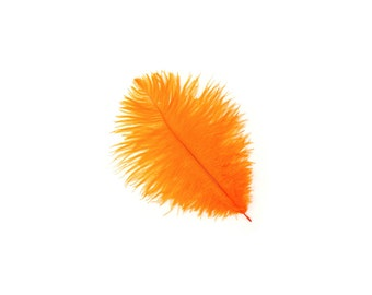 "12 ORANGE Ostrich Feathers 9-12"" Perfect for Feather Small Feather Centerpieces, Party Decor, Millinery & Costume Design ZUCKER®"