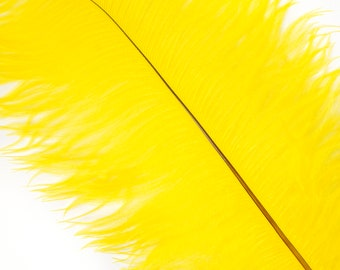 """YELLOW 25 Ostrich Feathers 17""""- 20"""" - 25pc/pkg - Perfect for Feather Centerpieces,Party Decor,Millinery & Carnival Costumes ZUCKER®"""