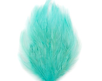 LIGHT TURQUOISE 12 Dyed Hackle Pads - For Feather Crafts, Fascinators, Millinery, Fashion, Costume and Carnival Design ZUCKER®