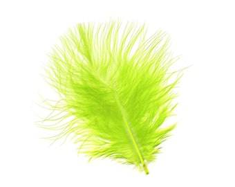 Turkey Feathers, Lime Green Loose Turkey Marabou Feathers, Short and Soft Fluffy Down, Craft and Fly Fishing Supply Feathers ZUCKER®