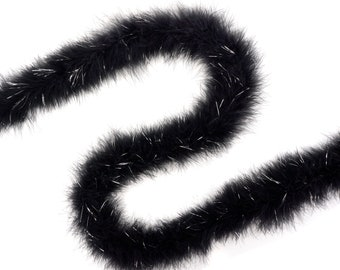 Marabou Feather Boa Black with Shiny Silver Lurex, 25 Grams 2 Yards, DIY Art Crafts Carnival Fashion Halloween Costume Decor ZUCKER®